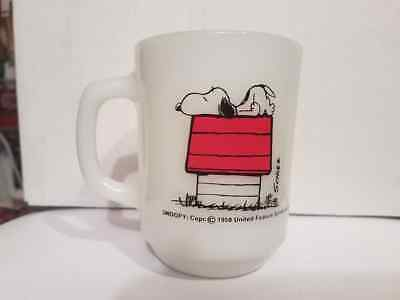 """Vintage Fireking Snoopy """"I Think I`m Allergic To Morning"""" Coffee Cup [LOOK]"""