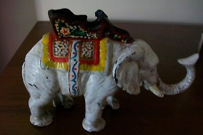 """Vintage Cast Iron Painted Elephant Bank 3 1/5 Lbs 8 1/2"""" Long Slotted Screw"""