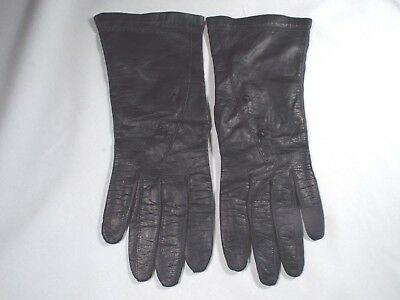 Vintage Black Leather Real Kid Leather Women's Gloves 7 Made in Belgium Washable