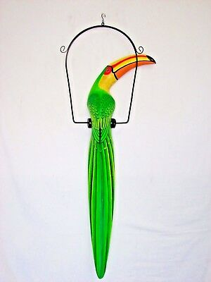 "39"" Yellow & Green Toucan On Metal Swing Wood Hand Painted Carved Bird"
