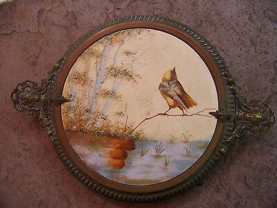 Large Antique Brass or Bronze & Porcelain Art Nouveau Hand Painted Bird Trivet