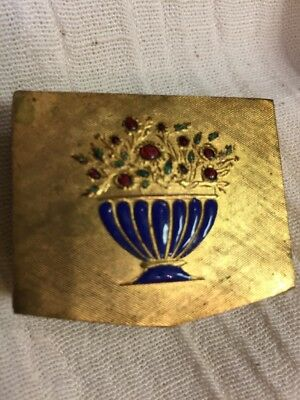 vintage Made In Italy Pill Snuff trinket small Hinged Box Enamel Flower Basket