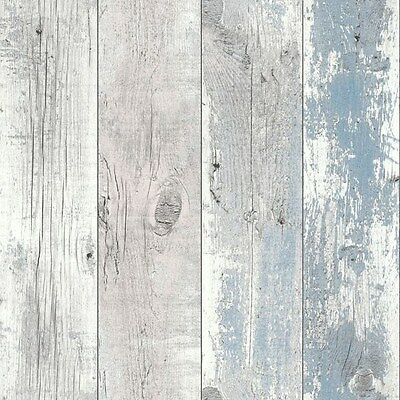 Nautical Blue Driftwood Wallpaper - Shabby Chic Design Studio - Wood Wall 670508