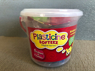 New Sealed Plasticine Softeez Tub 5 Colours 2 Cutters Never Dry Modelling Clay