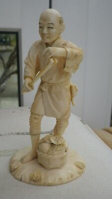 Antique Chinese Japanese Signed Netsuke Okimono Of A Farmer Figure 12Cm Tall