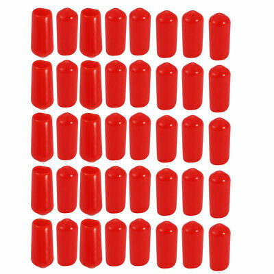 40Pcs 6mm Inner Dia PVC Flexible Vinyl End Cap Screw Thread Protector Red
