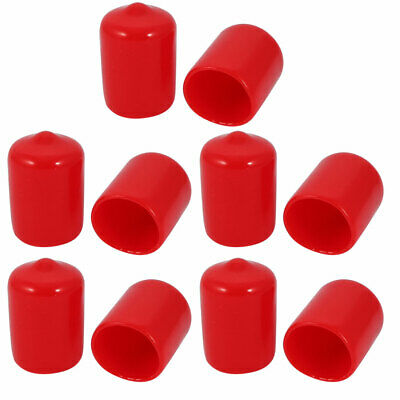 10pcs 13mm Inner Dia PVC Flexible Vinyl Cap Screw Thread Protector Cover Red