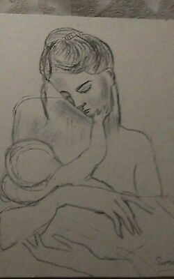 Simon Cole Charcoal Drawing Mother & Child Unframed Signed Original.