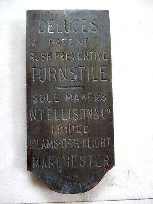 A Lovely Early Antique Brass English Football Stadium Turnstile Makers Plaque