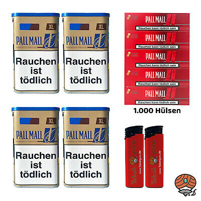 4 Pall Mall Authentic Blue / Blau XL Tabak Dose 65g, Authentic Hülsen, Feuerz.