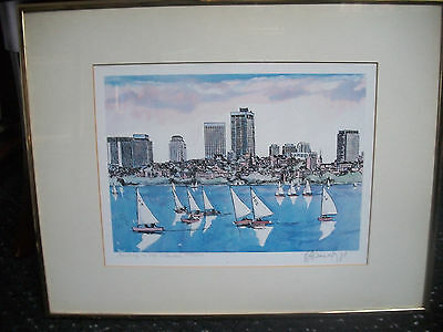 ROBERT E. KENNEDY Signed Limted Edition Litho. # 222/500 SAILING ON THE CHARLES