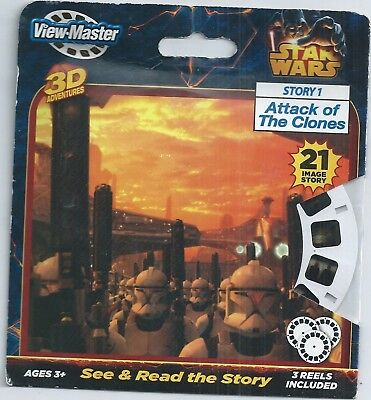View-master Reel Star Wars Attack of the Clones 2013 Set on Card New Sealed