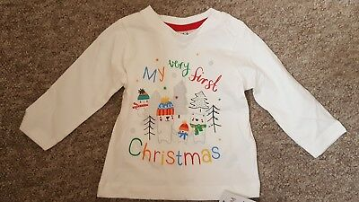 Baby Tshirt 3-6 month My 1st First Christmas NWT New Bear Tree Snow