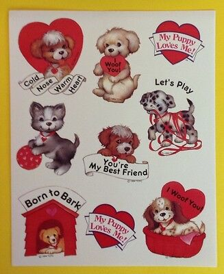 Vintage 1994 AMERICAN GREETINGS Valentine Sticker Sheet~Dogs~Puppy~Hearts~Love