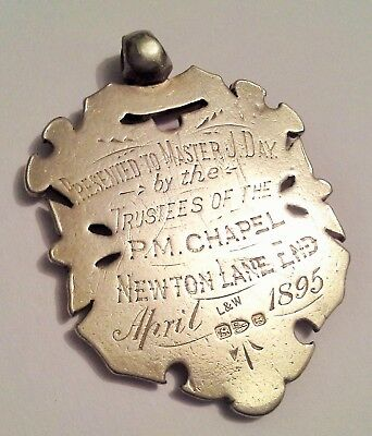 J. Day P.M.Chapel Newton Lane End Large Silver Watch Fob Medal 1895 Chester Mark