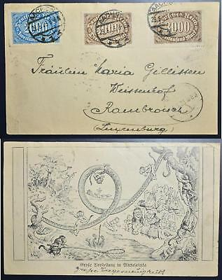 GERMANY 1923 $$$, 8000 Marks Inflation Stamps on Africa Animal Show PPC AACHEN >