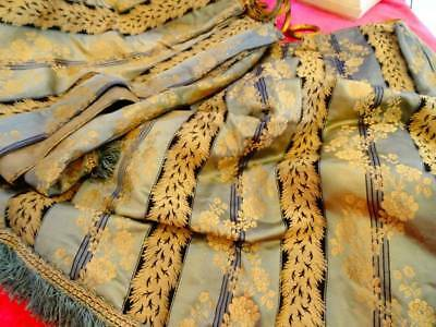 Fabulous Pair Of Antique French Lyon Silk Brocade Curtains With Original Rings