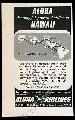 1965 Aloha Airlines Hawaii system map art vintage print ad