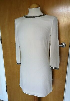 Ladies ARMANI EXCHANGE Ivory Dress Size 8 UK Tunic Sequin Neck Cuffs