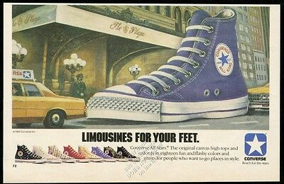 1985 Converse All-Star purple hi-top shoe The Plaza Hotel NYC vintage print ad