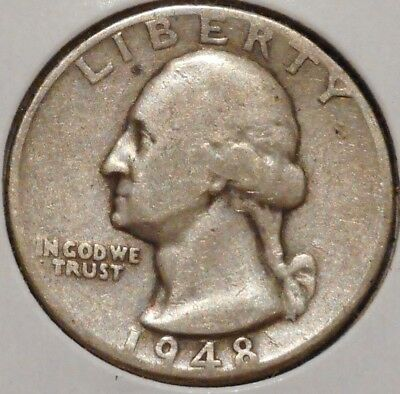 Washington Silver Quarter - 1948-D - $1 Unlimited Shipping.