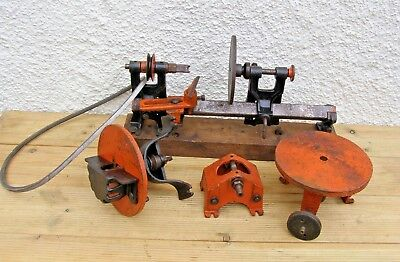 Vintage Small Wood Turning LATHE & Accessories Belt Driven Bench Mount