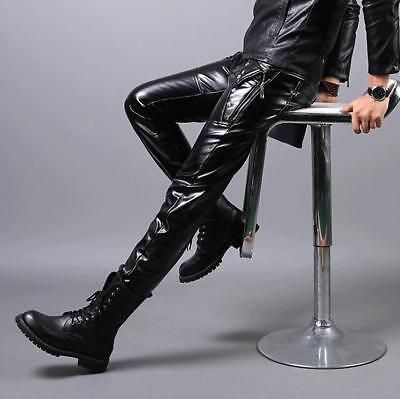 Mens Casual Rivets Pants Slim Fit Faux Leather Trousers Motorcycle Warm Long U17