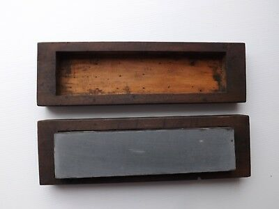 """Natural grey honing/whet/ sharpening stone in wood box. Stone is 8"""" x 2"""" x 1"""""""