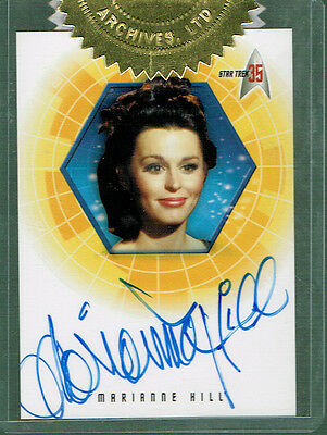 Star Trek 35Th Anniversary Autograph Card A33 Marianne Hill As Dr. Helen Noel