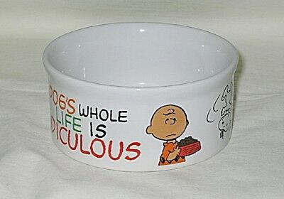 Peanuts Snoopy & Charlie Brown Dog's Life Design 4 1/2-inch Pet Food Bowl-NWT