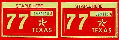 Two 1977 Texas Passenger License Plate Stickers - 2 Unissued 1977 NOS STICKERS