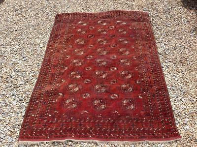 Antique Middle Eastern Rug Bokhara 6ft Hand Woven Wool Persian Style Rug Chic