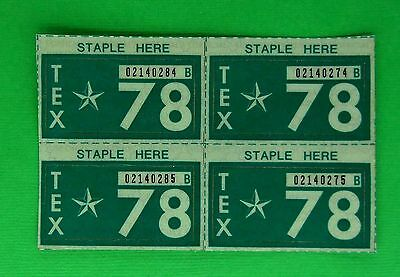 Four NOS 1978 Texas Passenger License Plate Stickers - Unissued (4)