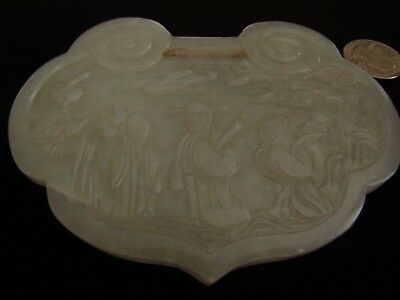 """Large Antique Chinese Late 19th early 20th C White Jade Lock 5"""" by 4"""""""
