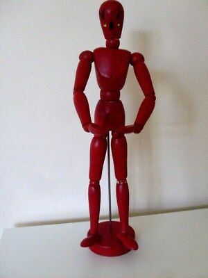 Artists Wooden Figure. Red Fully Jointed On Stand, Gc