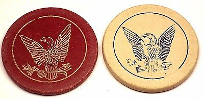 Lot of 2 Antique American Eagle US Military Look Poker Chips Red/White RARE