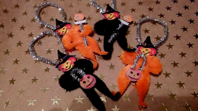 4 Vintage Style Halloween  Chenille Ornaments Pumpkin Head Witch