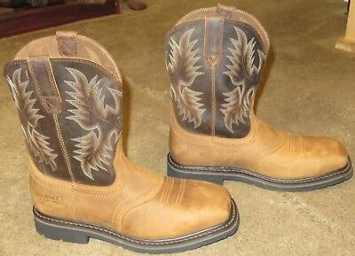 980f0eb5627 NEW MENS ARIAT Sierra Wide Square Toe Steel Toe Leather Work Boots sz 11 D