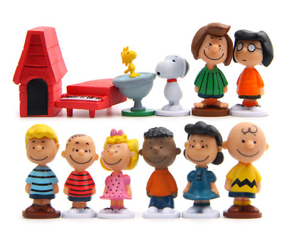 12pcs Peanuts Snoopy Charlie Brown Lucy Franklin Figure Figurine Toy