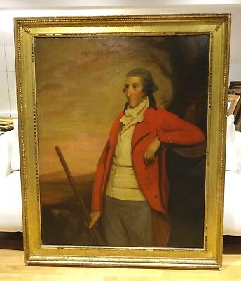 Huge Fine 18th Portrait Captain David Skene Red Tunic Rifle Antique Oil Painting