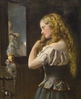Large 19th Century Blond Girl Portrait Combing Her Hair Antique Oil Painting