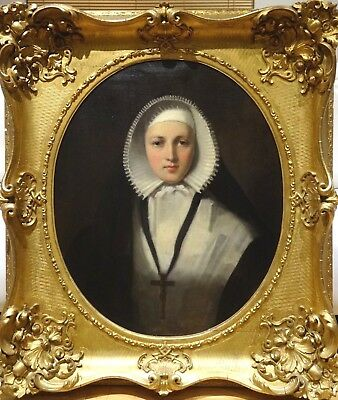 Fine Huge 19th Century English Portrait of a Lady Nun Antique Oil Painting