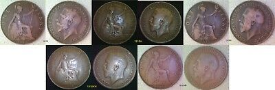 1912H, 1918H, 1919H , 1918KN, 1919KN. George V Penny Choice of Year