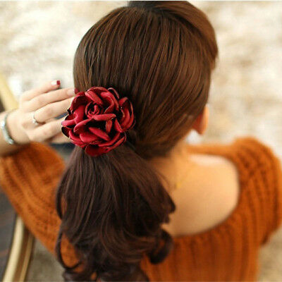 Women Girls Rose Flower Hair Band Elastic Rope Scrunchie Ponytail-Holder Z