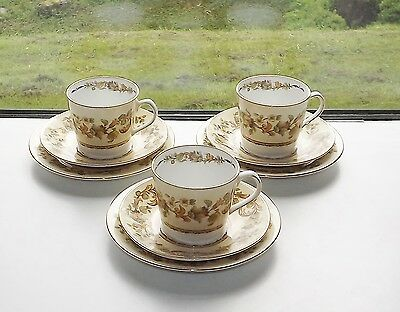 Elizabethan English Fine Bone China Autumn Song Pattern 3 Trios Cup Saucer Plate