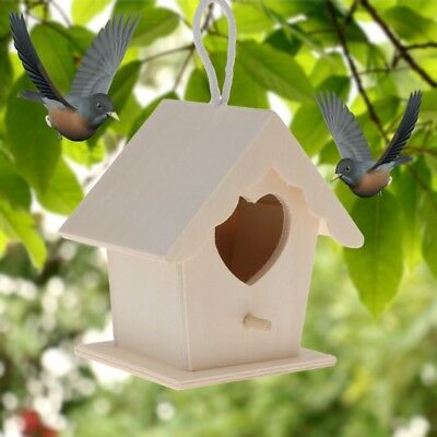 DIY Bird Nest Natural Wood House Creative Heart Shaped Parrot Parakeet Hanging