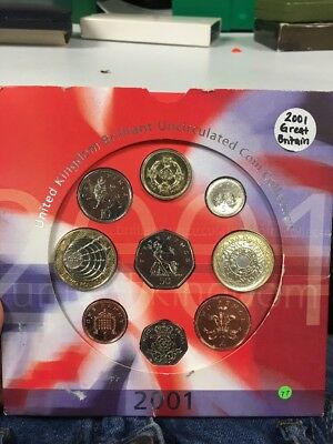 United Kingdom 2001 Brilliant Uncirculated Coin Collection OF NINE COINS