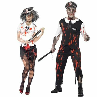Couples Costume Halloween Zombie Horror Policewoman Policeman Fancy Dress