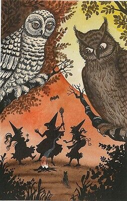 1.5x2 DOLLHOUSE MINIATURE PRINT OF PAINTING RYTA 1:12 SCALE HALLOWEEN OWL WITCH