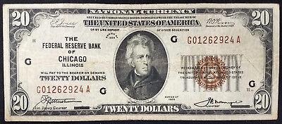 1929 $20.00 National Currency, The Federal Reserve Bank of Chicago, Illinois!